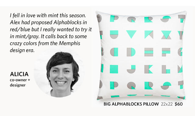 "Alicia, co-owner and designer, explains why she picked the alpha blocks mint pillow: ""I fell in love with mint this season. Alex had proposed Alphablocks in red/blue but I really wanted to try it in mint/gray. It calls back to some crazy colors from the Memphis design era."""