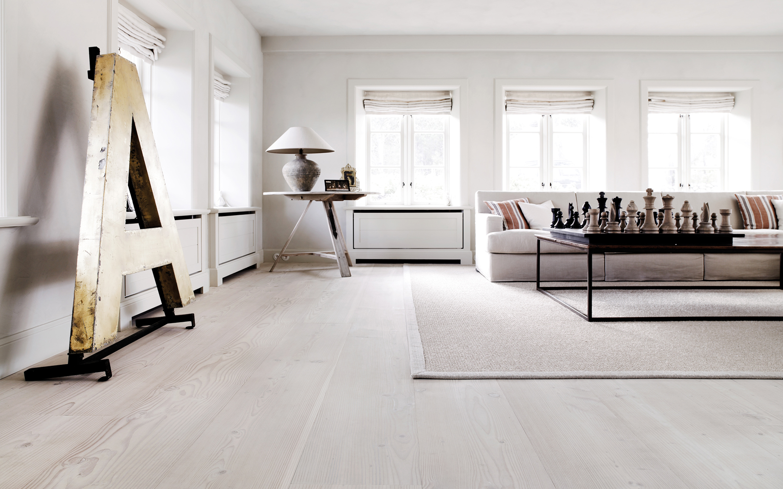 Sure to feel crisp and clean: Scandinavian-style white floors