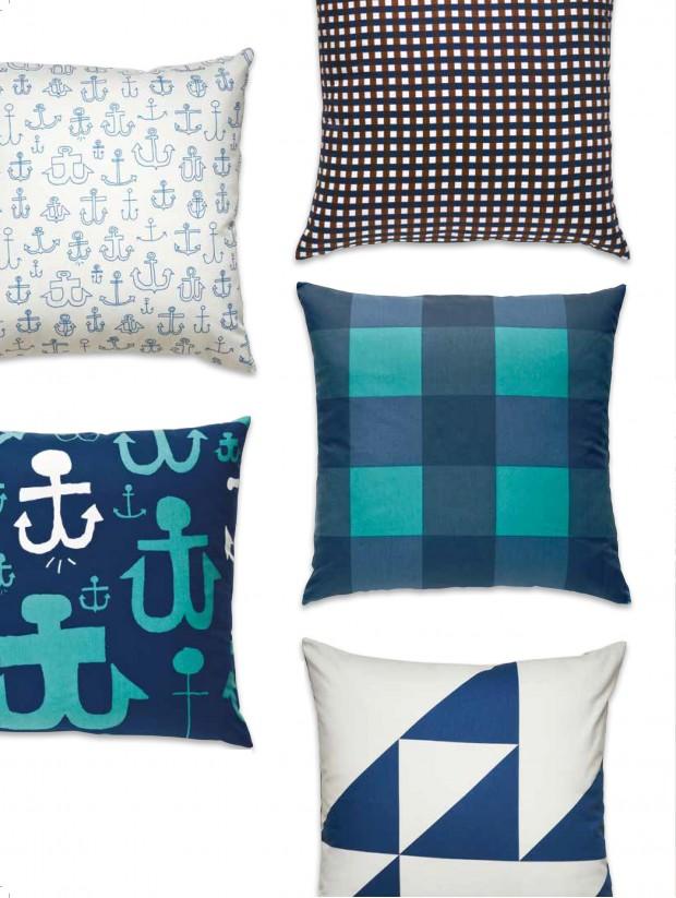 A collection of modern throw pillows