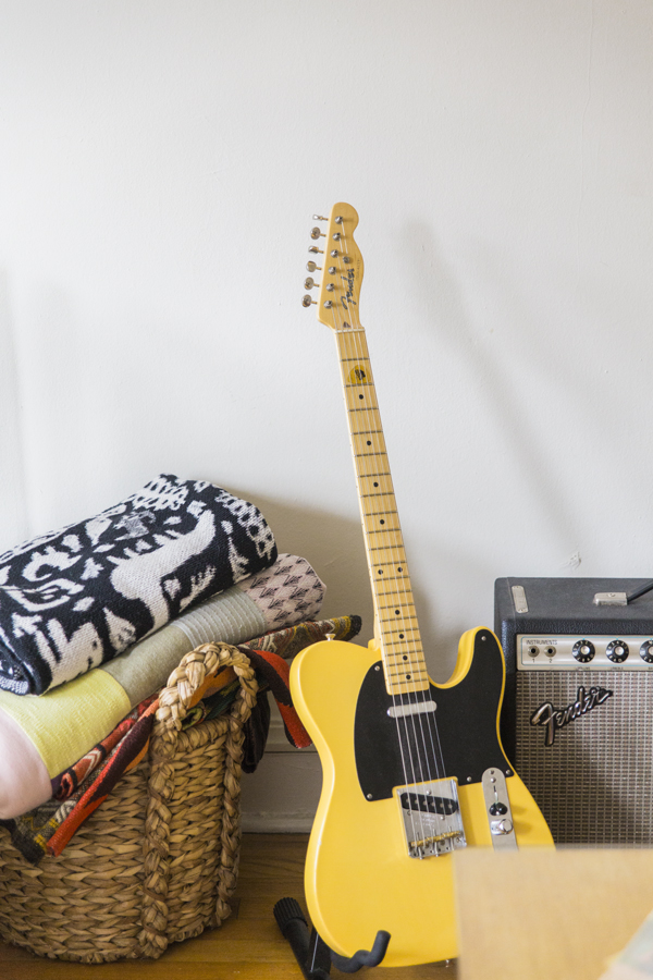 Yellow-Fender-Guitar-and-Throw-Blankets