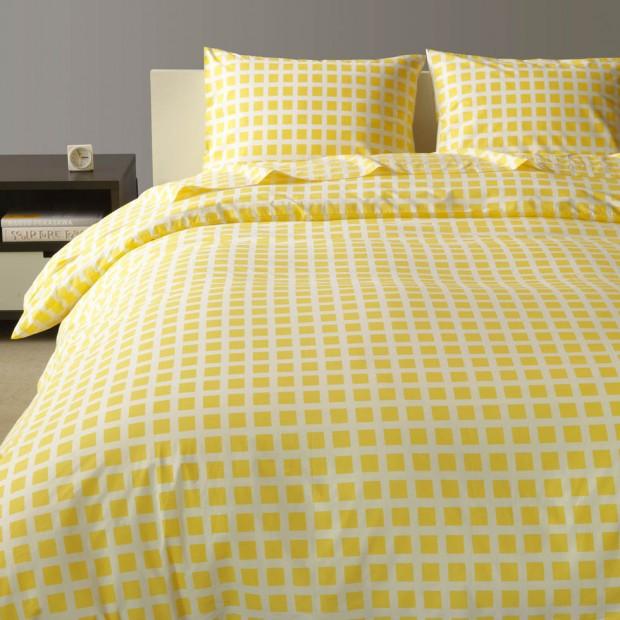 Yellow Bedding - Tiles Lemon Yellow Duvet, Sheets, Pillows