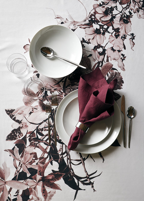 medaillon porcelain plates + dinnerware, and thanksgiving tablecloth